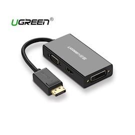 ადაპტერი  UGREEN DP110  DisplayPort to HDMI/VGA/DVI Converter   Black