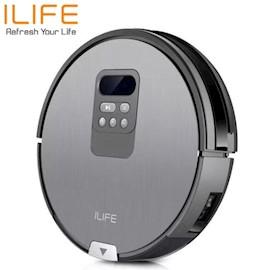 რობოტი მტვერსასრუტი მშრალი და სველი წმენდით ILIFE V80  Vacuuming & mopping robot vacuum  5 Mechanical button+ LED screen  Intelligent i-Dropping  Automated operation Self-charging