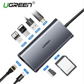 ადაპტორი UGREEN CM121 (50516) USB  C Hub Type C Adapter 3.1 HDMI VGA, Power Delivery Charging, Gigabit Ethernet Port, 3 USB 3.0 Ports, Micro SD Card Reader ,USB-C to 3*USB3.0+HDMI+RJ45+SD&TF converter