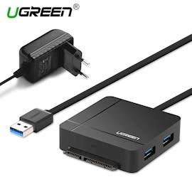 ბარათის წამკითხველი UGREEN US231 (30713) USB 3.0 to USB 3.0 Female + Sata 3.0 + TF/SD Card Reader (Black)