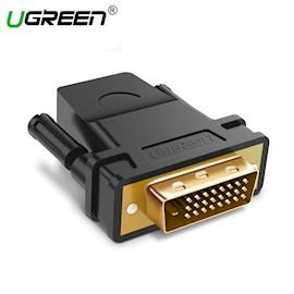 ადაპტერი UGREEN 20124 DVI 24+1 Male to HDMI Female Adapter (Black)