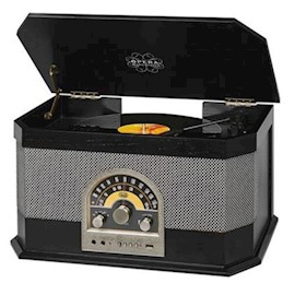 TREVI TURNTABLE TT1040BT BLACK STEREO TURNTABLE SYSTEM RADIO MP3USBAUX IN BLUETOOTH CONNECTIVITY (33, 45, 78 RPM SPEED)