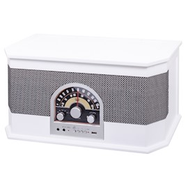 TREVI TURNTABLE TT1040BT WHITE STEREO TURNTABLE SYSTEM RADIO MP3USBAUX IN BLUETOOTH CONNECTIVITY (33, 45, 78 RPM SPEED)