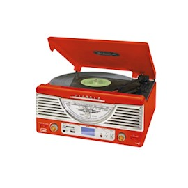 TREVI TURNTABLE TT1062E  RED  STEREO SYSTEM TURNTABLE WITH ENCODING MP3SDUSB AMFM RADIO  (33, 45  RPM SPEED)
