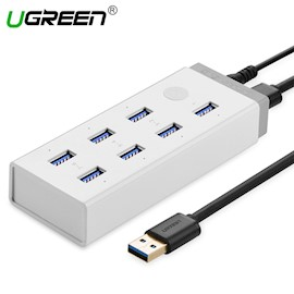 USB ჰაბი UGREEN CR116 (20296) USB 3.0 Hub 7 port with 12V 4A Power Adapter With BC1.2 For Laptop Surface 1m (White)