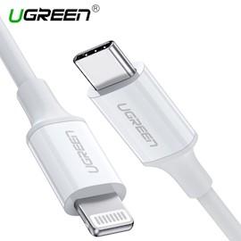 კაბელი UGREEN US171 (10493) USB-C to Lightning M/M Cable Rubber Shell 1m (White)