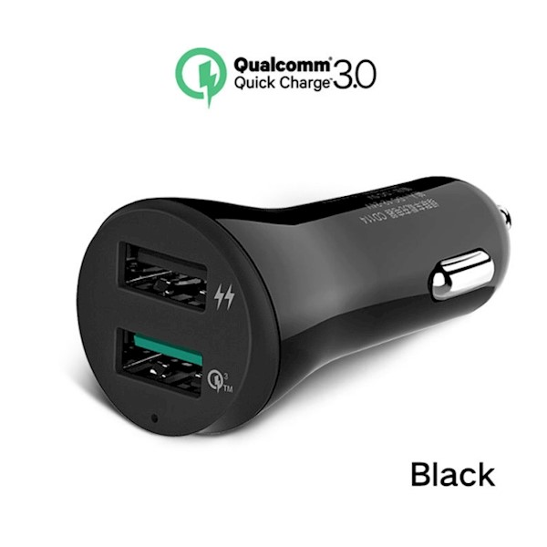 მანქანის USB დამტენი UGREEN CD114  Fast Car Charger Adapter, 30W 5.4A Dual USB Quick Charge QC 3.0 3A and iSmart 2.4A USB for iPhone 8 8 Plus X 7 6, iPad, Samsung Galaxy S8 S8 Plus S9 S7 Note 8, LG V20 G6 G5, Google Pixel, Moto