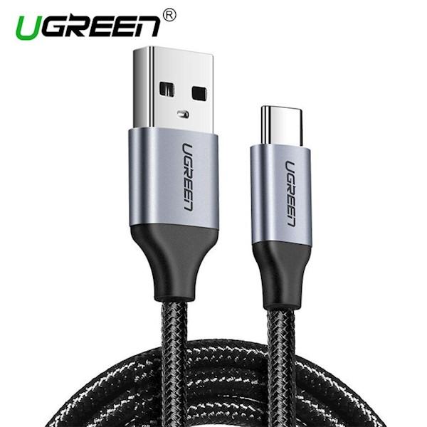 USB კაბელი Ugreen US288 (60126) UGREEN USB 2.0 A to Type C Cable Nickel Plating Aluminum Braid 1m (Black)