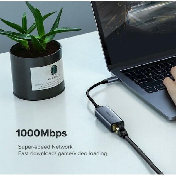 USB ქსელის ადაპტერი UGREEN CM199 (50737) USB Type C to 10/100/1000M Ethernet Adapter (Space Gray)