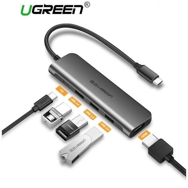 ადაპტერი UGREEN CM136 (50209) USB Type C to HDMI + USB 3.0*3 + PD Power Converter