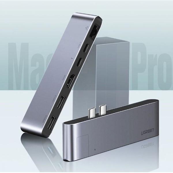ადაპტერი UGREEN CM218 (50984) Apple MacBookPro laptop accessories dock USB Type C to HDMI Converter RJ45