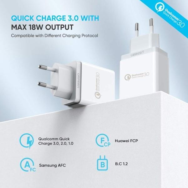 მობილურის დამტენი UGREEN CD122 (20909) USB Charger with QC3.0 18W EU (White)