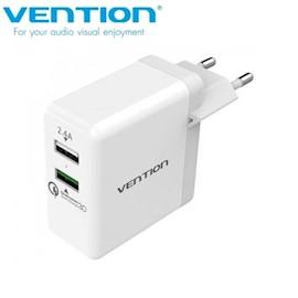 მობილურის დამტენი VENTION QC02 W Dual USB Charger 2.4A QC3.0 White European Type