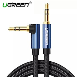 AUX კაბელი UGREEN AV112 (60178) 3.5mm Male to 3.5mm Male Cable Gold Plated Metal Case with Braid 0.5m (Blue Black)