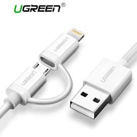 USB კაბელი UGREEN US178 (20876) USB 2.0 to Micro USB+Lightning (2 in 1) Data Cable 1M