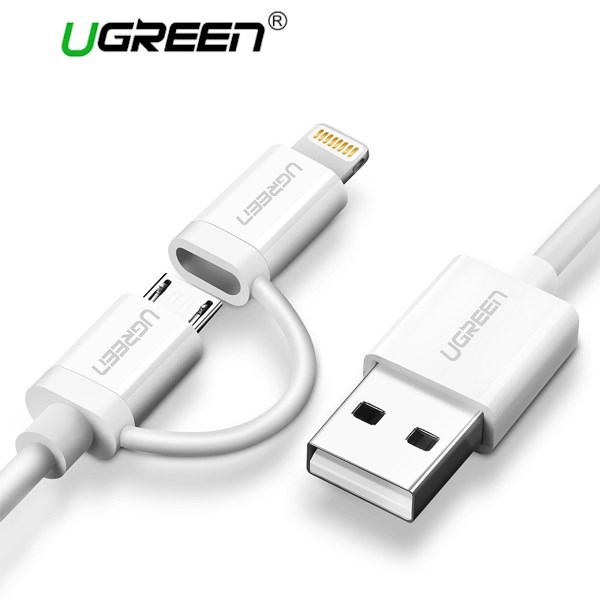USB კაბელი UGREEN US178 (20876) USB 2.0 to Micro USB+Lightning (2 in 1) Data Cable 1M