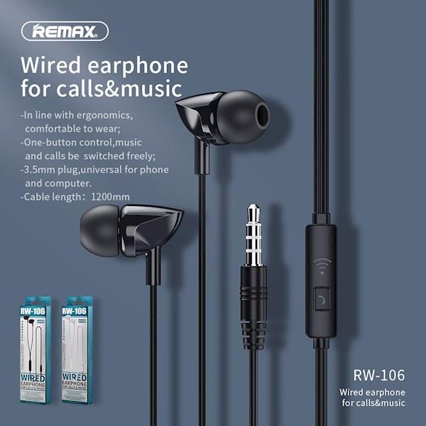 ყურსასმენი REMAX Wired Earphone For Calls & Music RW-106 black