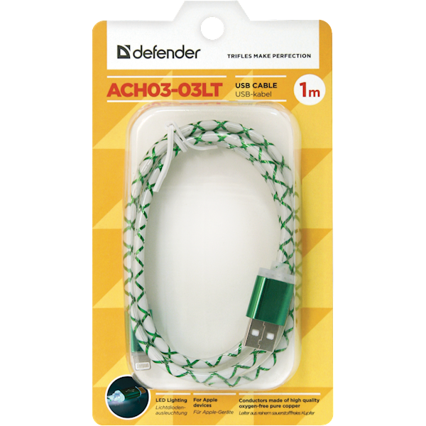 USB კაბელი Defender ACH03-03LT green, LED, USB-Lightning