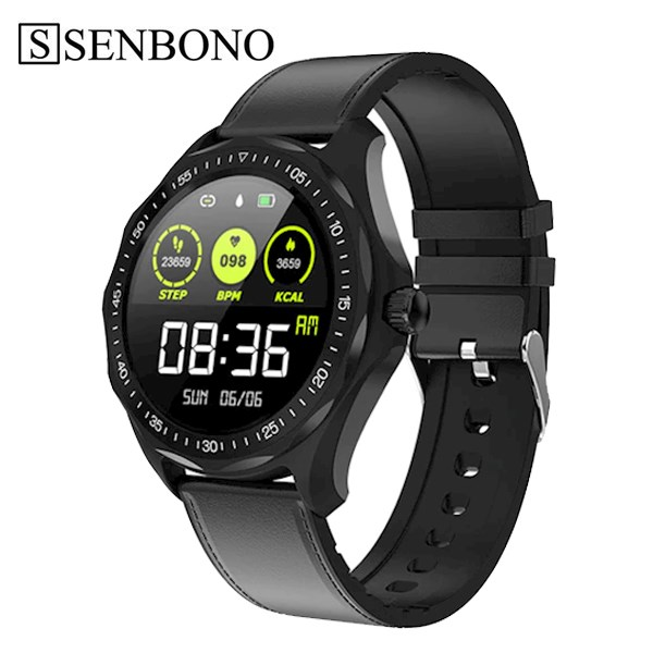 სმარტ საათი SENBONO S09 black leather IP68 Waterproof Smart Watch Heart Rate Blood Pressure Monitor GPS Map