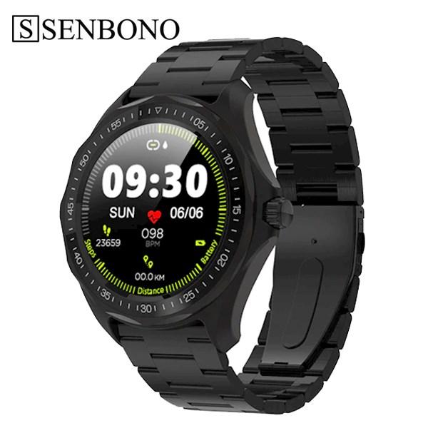 სმარტ საათი SENBONO S09 black steel 3 zhu IP68 Waterproof Smart Watch Heart Rate Blood Pressure Monitor GPS Map