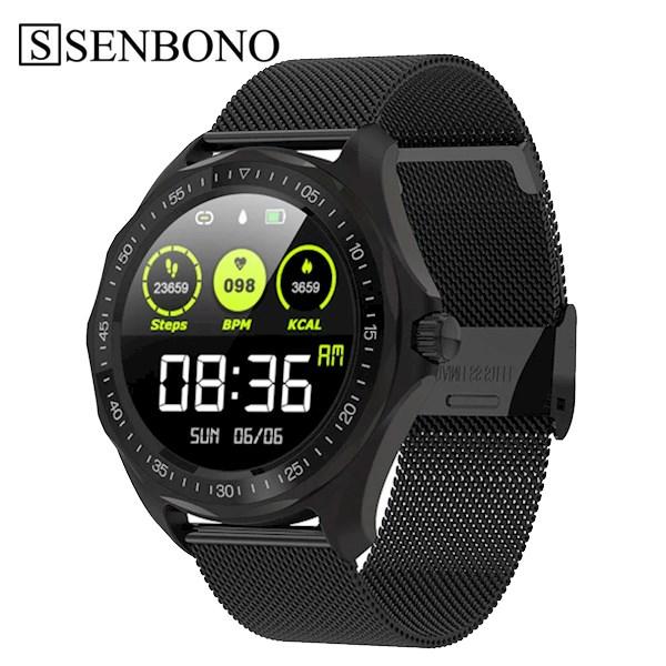 სმარტ საათი SENBONO S09 black IP68 Waterproof Smart Watch Heart Rate Blood Pressure Monitor GPS Map