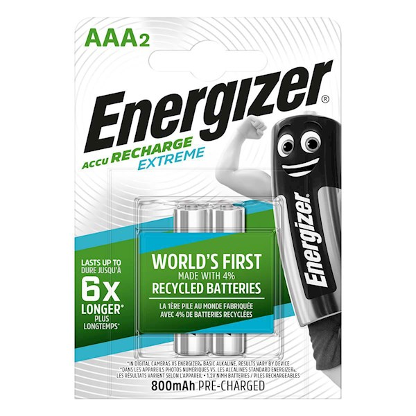 ელემენტი Energizer Extreme AAA 800mAh აკუმულატორი, 2ც შეკრა E300324500, 6862