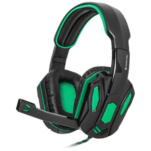 ყურსასმენი Defender  Warhead G-275, green+black, cable 1,8 m